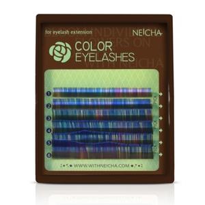"""Ресницы колорированные """"NEICHA"""" MINI MIX ( 8-13 мм) Blue C 0.07"""