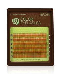 """Ресницы колорированные """"NEICHA"""" MINI MIX (8-13 мм) Brown C 0.10"""