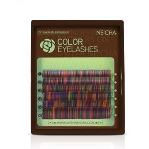 """Ресницы колорированные """"NEICHA"""" MINI MIX (8-13 мм) Rainbow C 0.10"""