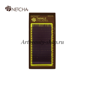 """Ресницы """"NEICHA"""" TWINKLE DARK BROWN - темно-коричневые (16 линий) B 0.07 Длина 10 мм"""